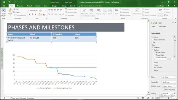 Building a Phases and Milestones report: Mastering Microsoft Project Graphical Reports