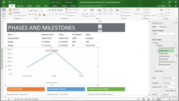 Inserting a chart: Mastering Microsoft Project Graphical Reports