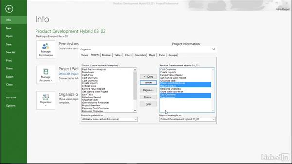 Adding text boxes for navigation: Mastering Microsoft Project Graphical Reports
