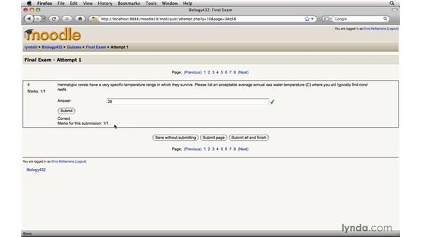 Taking an online quiz: Moodle 1.9 Essential Training for Students
