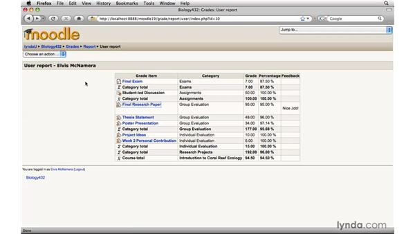 Checking grades: Moodle 1.9 Essential Training for Students