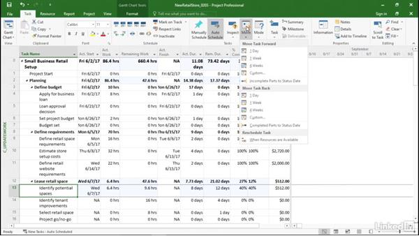 Rescheduling tasks: Managing Actual Values in Microsoft Project