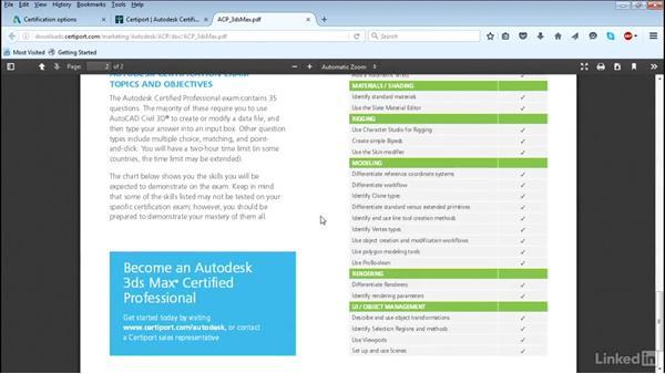 Using the Certiport website: Cert Prep: 3ds Max Certified Professional