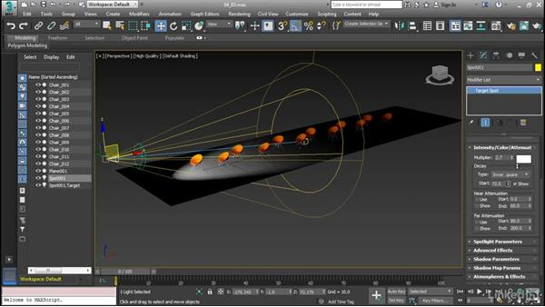 Add attenuation and decay: Cert Prep: 3ds Max Certified Professional