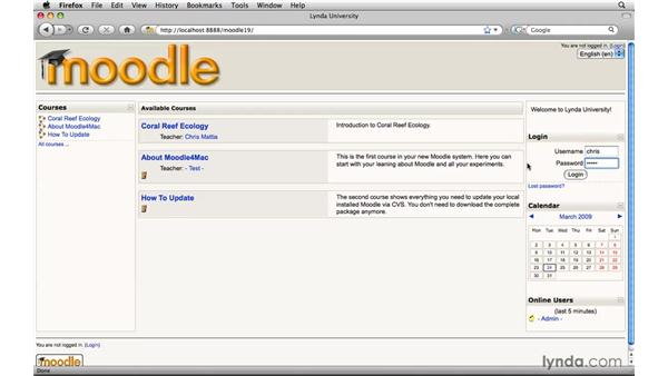 Just enough site administration to get you going: Moodle 1.9 Essential Training for Teachers