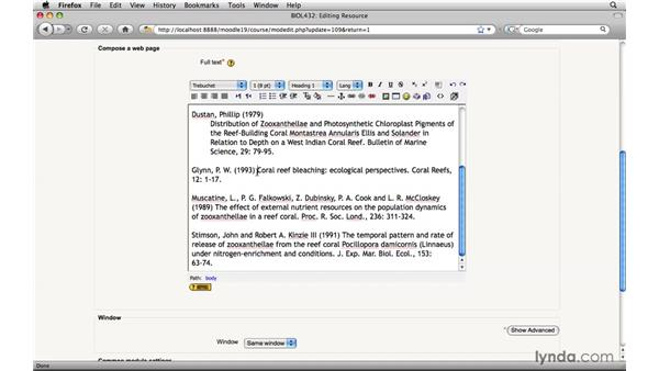 Formatting text: Moodle 1.9 Essential Training for Teachers