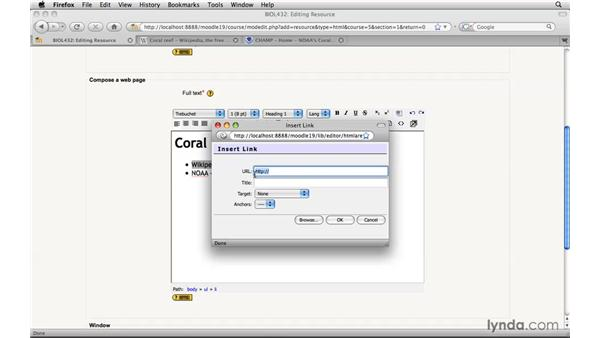 Creating external links: Moodle 1.9 Essential Training for Teachers