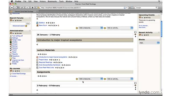 Creating a text label: Moodle 1.9 Essential Training for Teachers