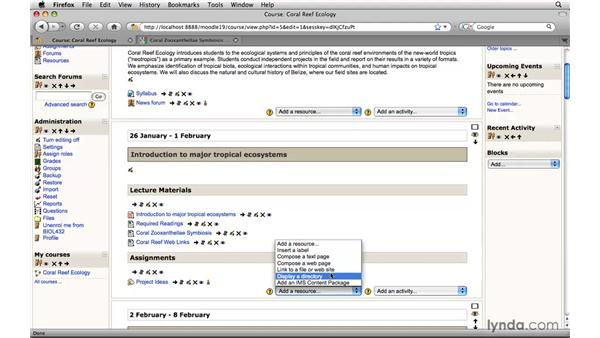 Linking to a web site: Moodle 1.9 Essential Training for Teachers