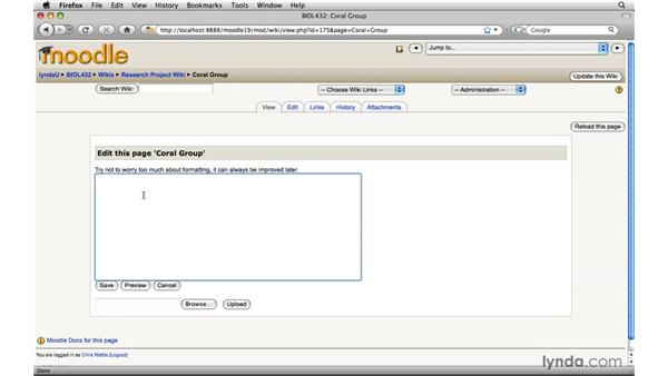 Subdividing a class wiki: Moodle 1.9 Essential Training for Teachers