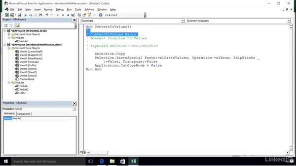 The VBA window and VBA components: Excel 2016: Macros in Depth