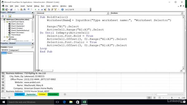 Creating interactive macros: Excel 2016: Macros in Depth