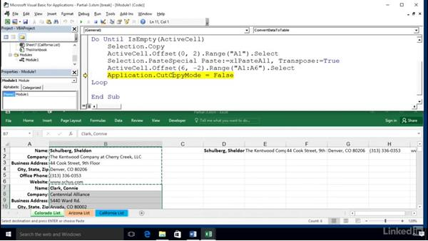 Testing a macro in Step mode with a split screen: Excel 2016: Macros in Depth