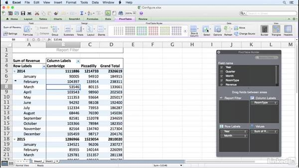 Configuring a PivotTable: Excel for Mac 2011: Pivot Tables in Depth