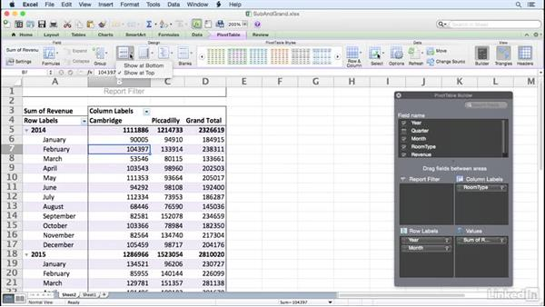 Managing subtotals and grand totals: Excel for Mac 2011: Pivot Tables in Depth