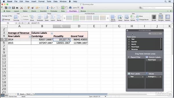 Changing the data field summary operation: Excel for Mac 2011: Pivot Tables in Depth
