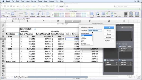 Summarizing more than one data field: Excel for Mac 2011: Pivot Tables in Depth