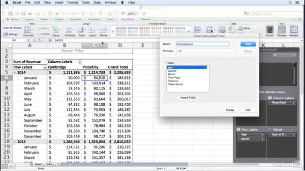 Creating a calculated field: Excel for Mac 2011: Pivot Tables in Depth