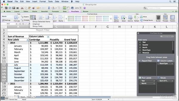 Grouping PivotTable fields: Excel for Mac 2011: Pivot Tables in Depth