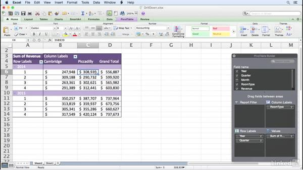 Drilling down to the underlying data: Excel for Mac 2011: Pivot Tables in Depth