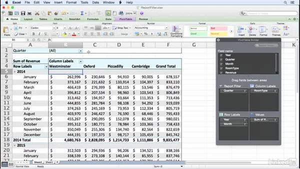 Filtering a PivotTable using report filter fields: Excel for Mac 2011: Pivot Tables in Depth