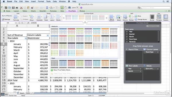 Applying a PivotTable style: Excel for Mac 2011: Pivot Tables in Depth