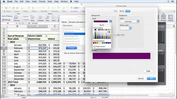 Creating a PivotTable style: Excel for Mac 2011: Pivot Tables in Depth