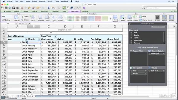 changing the pivottable layout