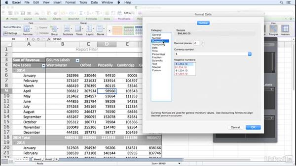 Changing the data field number format: Excel for Mac 2011: Pivot Tables in Depth