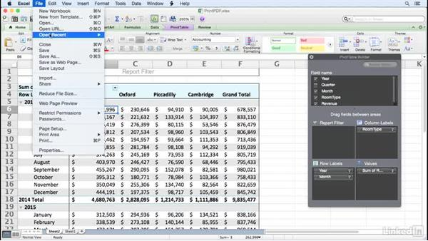 Printing a PivotTable as a PDF: Excel for Mac 2011: Pivot Tables in Depth