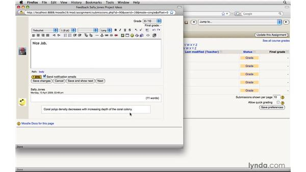 Grading an assignment: Moodle 1.9 Essential Training for Teachers