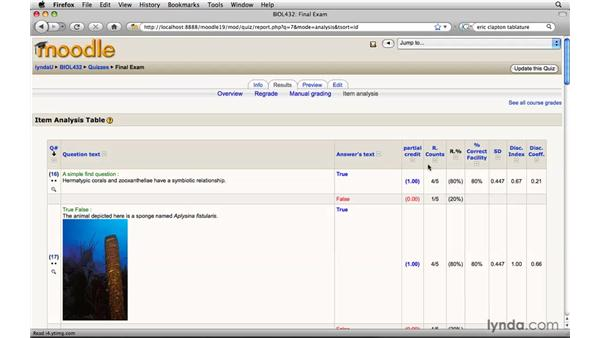 Quiz data analysis: Moodle 1.9 Essential Training for Teachers