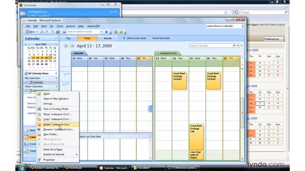 Exporting a calendar to Outlook: Moodle 1.9 Essential Training for Teachers