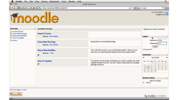 Importing content to another course: Moodle 1.9 Essential Training for Teachers