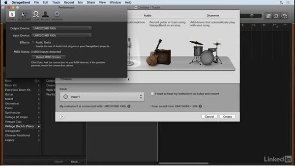 Configure GarageBand's I/O settings: Podcasting with GarageBand