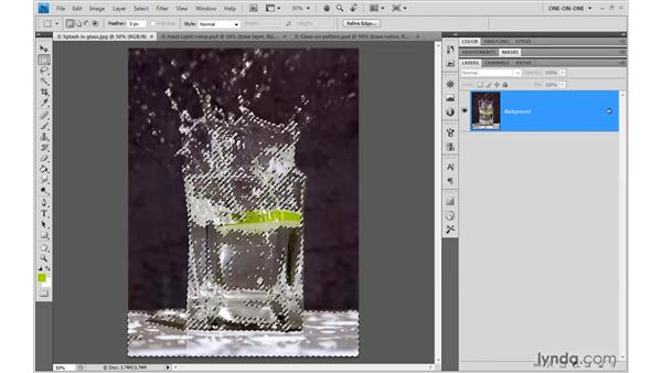 Selecting glass highlights: Photoshop CS4 One-on-One: Mastery