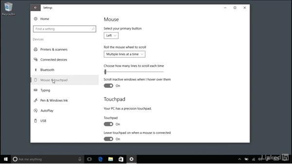 Configuring a Bluetooth keyboard, mouse, and other peripherals: Windows 10 Anniversary Update Essential Training