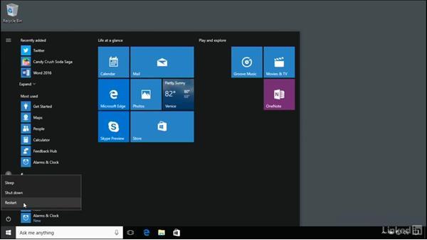 Sleep, shut-down, and restart: Windows 10 Anniversary Update Essential Training
