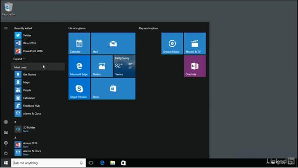 Use the Start menu to launch applications: Windows 10 Anniversary Update Essential Training