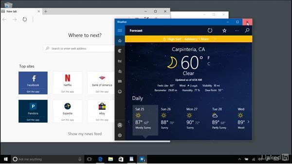 Interacting with windows, menus, and ribbons: Windows 10 Anniversary Update Essential Training