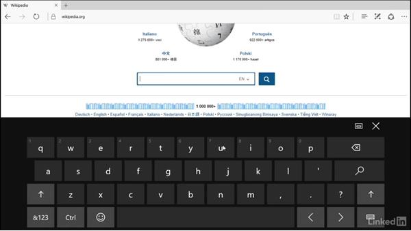 Using touch screen controls in Windows: Windows 10 Anniversary Update Essential Training