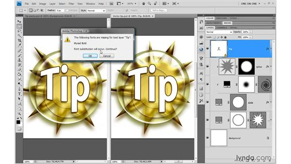 Vector-based type outlines: Photoshop CS4 One-on-One: Mastery