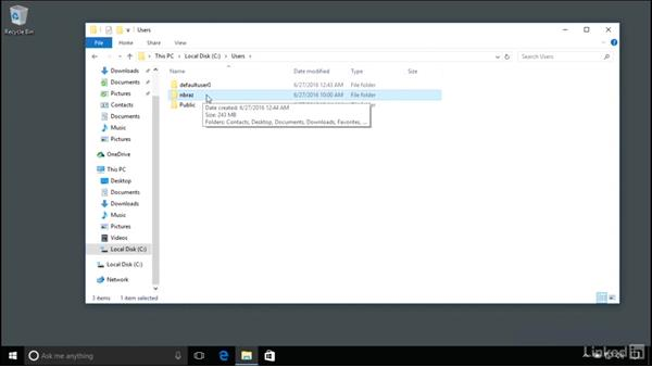 Understanding folder structures including the user folder: Windows 10 Anniversary Update Essential Training