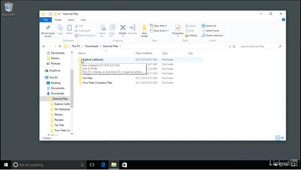 Creating, copying, moving, and renaming files and folders: Windows 10 Anniversary Update Essential Training