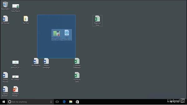 Organizing items on the desktop: Windows 10 Anniversary Update Essential Training