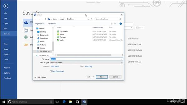 Saving files within an application: Windows 10 Anniversary Update Essential Training