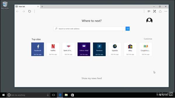 Working with Edge and Internet Explorer: Windows 10 Anniversary Update Essential Training