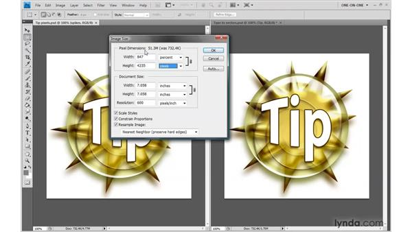 Upsampling vs. nondestructive scaling: Photoshop CS4 One-on-One: Mastery