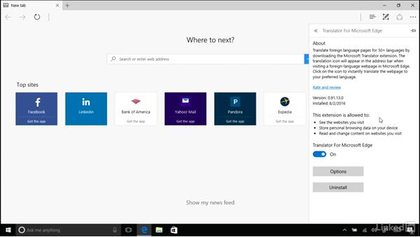Extensions in Edge: Windows 10 Anniversary Update Essential Training