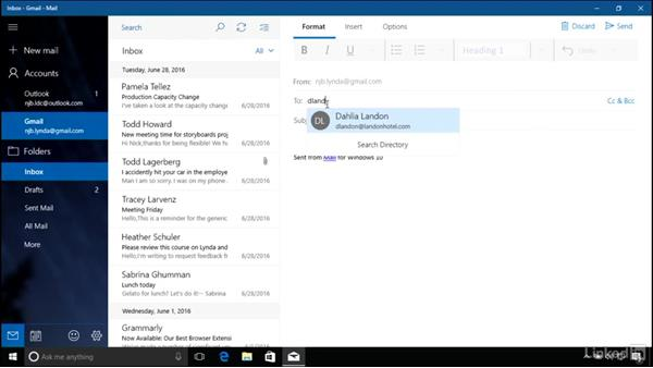 Working with the Mail app: Windows 10 Anniversary Update Essential Training